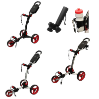 Axglo Tri-Lite 3 Wheel Golf Trolley - Red + 2 Free Accessories